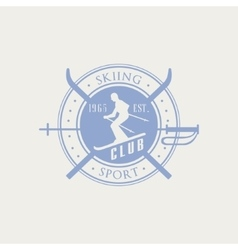 Skiing Club Emblem Design vector image