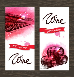 Banners of wine vintage background vector image vector image