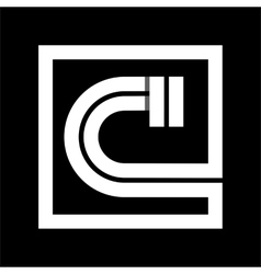 Capital letter C From white stripe enclosed in a vector image vector image