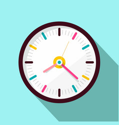 Clock icon flat design on blue background vector