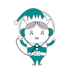 Color silhouette image cartoon full body christmas vector