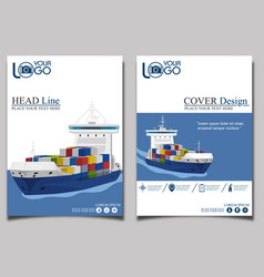 commercial sea shipping banner template set vector image