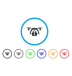 drone unloading rounded icon vector image vector image