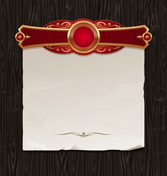 golden frame with paper banner vector image vector image