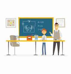 science lesson at school - modern cartoon people vector image