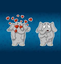 stickers elephants very in love he is surprised vector image vector image