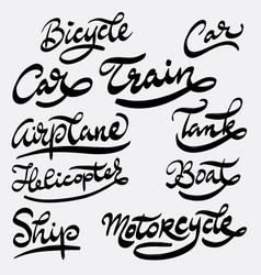 train and helicopter hand written typography vector image