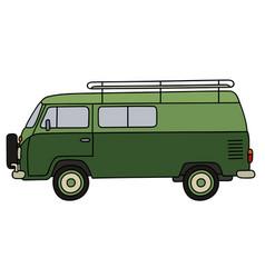 classic green minivan vector image