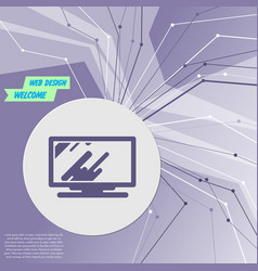 computer monitor icon on purple abstract modern vector image
