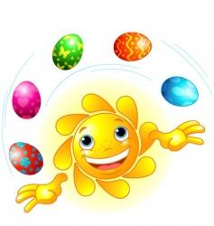 cute Easter sun juggling vector image