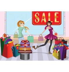 Fashion girls at shopping vector
