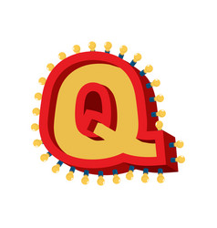 letter q lamp glowing font vintage light bulb vector image vector image