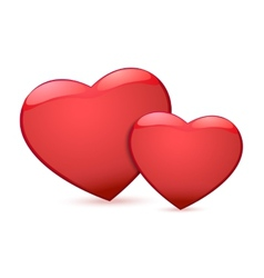 Two red heart vector image