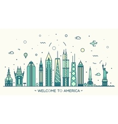 United States America skyline linear style vector image