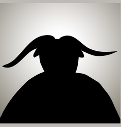 black devil demon silhouette with horns vector image