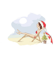 christmas vacation on the beach vector image