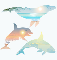 double exposure whale dolphin wildlife concept vector image vector image
