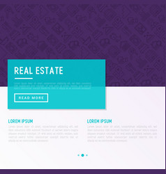 rea estate concept with thin line icons vector image