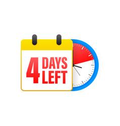 4 days left calendar clock icon symbol vector