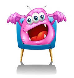 A television with a pink monster vector image