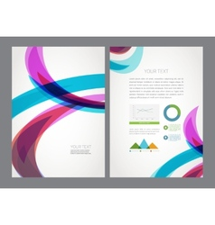 Abstract modern bright multicolored wave flyer vector