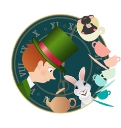 Alice in Wonderland Mad tea party vector image