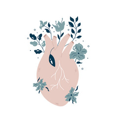 Anatomical heart with flowers and different plants vector