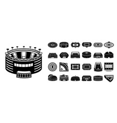 Arena icons set simple style vector