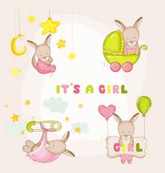 Baby girl kangaroo set - for shower cards vector
