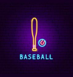 baseball game neon label vector image