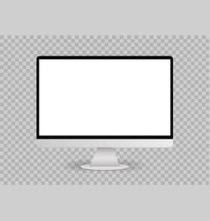 Blank white computer screen mockup vector