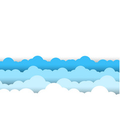 Blue sky white clouds border white background vector