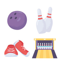 Bowling game ball skittles shoes and alley icons vector