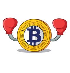 Boxing bitcoin gold character cartoon vector