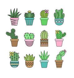 Cactus set outline vector