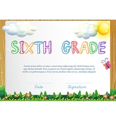 Certification for six grade vector image