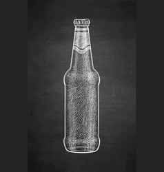 Chalk sketch of beer bottle vector