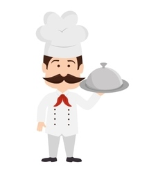 Chef platter mustache hat graphic icon vector