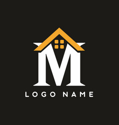 classic m letter with house sign for real estate vector image