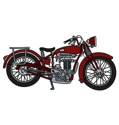 Classic red motorcycle vector