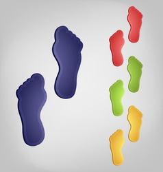 Color traces of bare feet vector image
