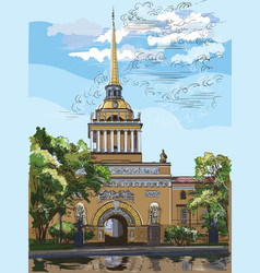 colorful hand drawing st petersburg 2 vector image