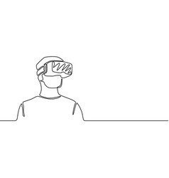 continuous one line man with vr glasses future vector image