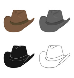 cowboy hat icon cartoon singe western icon from vector image
