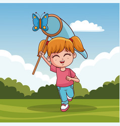 Cute girl catching butterfly vector