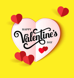 design banner with lettering happy valentines day vector image