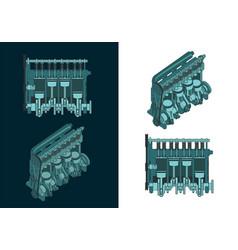 Diesel engine cutaway vector