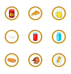 Different food icons set cartoon style vector