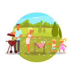 family bbq mom dad kids vector image