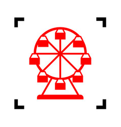 ferris wheel sign red icon inside black vector image